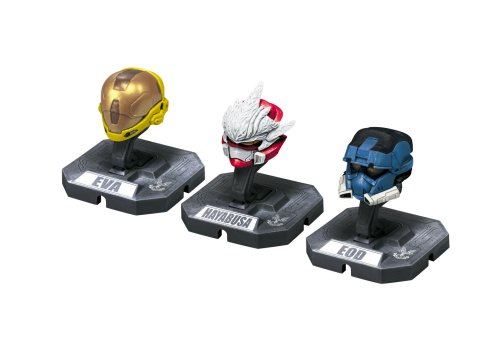 HALO Helmet 3PKs Series 1 - Set 4: EOD (Blue), Hayabusa (Red), Eva (Yellow) (Halo 3 Master Chief 12 Inch Action Figure)