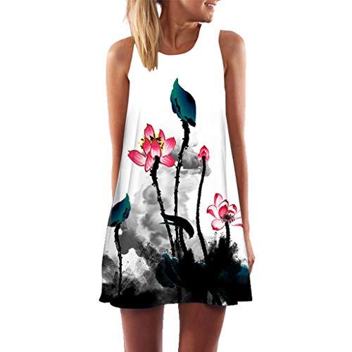 Sunhusing Women's Sleeveless Round Neck Print Tank Dress Summer Loose Vintage Short Mini A-Line Dress