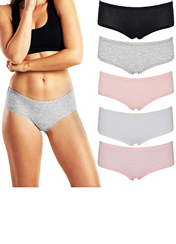 Emprella Women's Boyshort Panties Comfort Pack Ultra-Soft Cotton Underwear (Large, 5PK ()