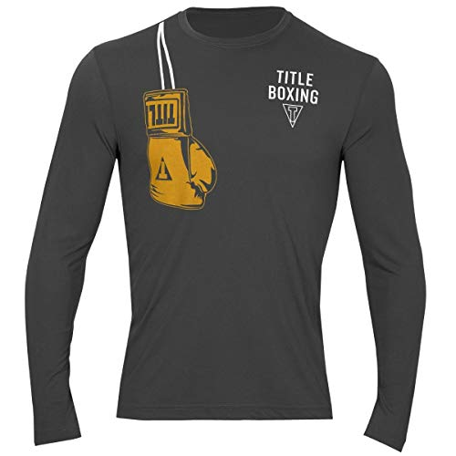 Title Boxing Gloves Over Shoulder Long Sleeve Wicking Tee, Dark Grey, Large