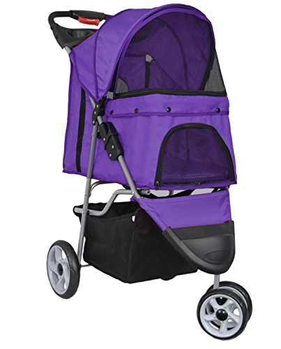 Cheap VIVO Three Wheel Pet Stroller, for Cat, Dog and More, Foldable Carrier Strolling Cart, Multiple Colors (Purple)