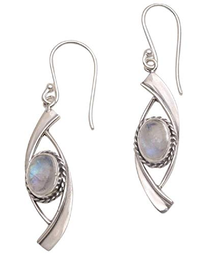 The Silver Sun Collection Yus Swarmana of Bali & Java The Beyond Hand Crafted Rainbow Moonstone and .925 Sterling Silver with French Earwires ()