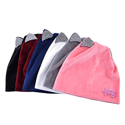 Amazon.com: HYID Women Winter hat with Ear Cute caps Women Beanie Hats Rhinestone Casquette Femme Knit Beanies Cap Girl Gorras Black: Clothing