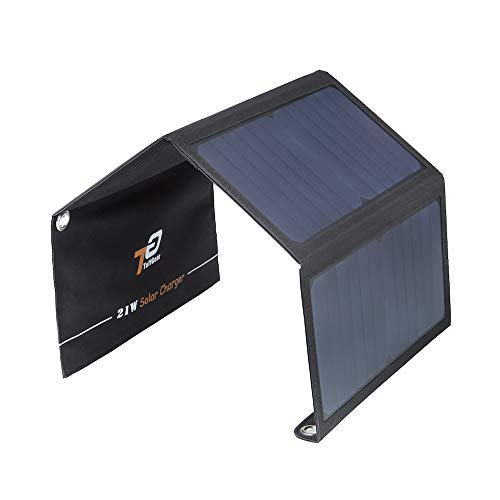 TuffGear 21W 5V 2-Port USB Portable Foldable Solar Charger with Highly Efficient Solar Panel, Reinforced and Waterproof, for Cell Phone, iPhone, iPad, Samsung, Android Smart Phones and More(Black)