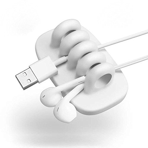 Cord Organizer with 4 Slots Self Adhesive Cable Management Eco-Friendly Silicone Cable Organizer for Earphones & Charging Cord, Cable and Wire (White)