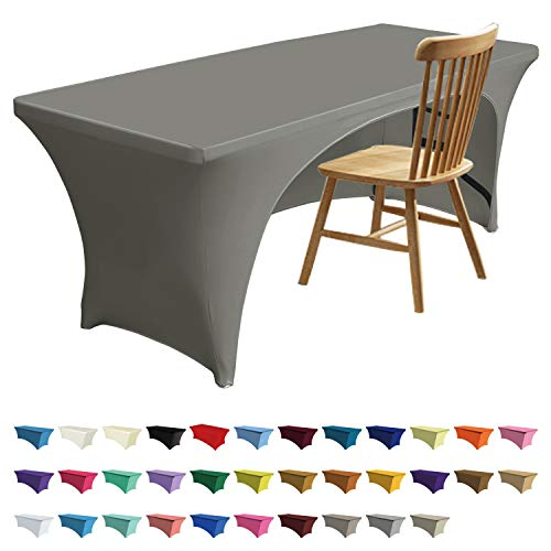 - ABCCANOPY 30+ Colors Spandex Table Cover 6 ft. Fitted Polyester Tablecloth Stretch Spandex Tablecover-Table Toppers(Open Back Gray)