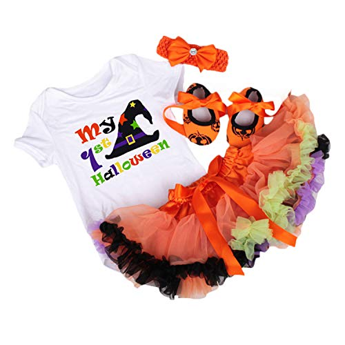 BabyPreg Baby Girls's 1st Halloween Pumpkin Costume,Baby Thanksgiving Dress Set (White Hat, M for 6-9 Months)]()
