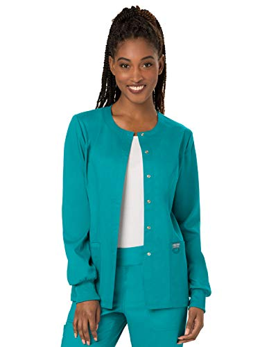 Cherokee Women's Snap Front Warm-up Jacket, Teal Blue, X-Small -