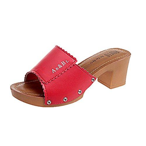 Heel Slipper Trendy Heel Slip Sandals Shoe Comfortable Sandal Block On Wheeler Everyday Slide Red High Queena zqBaxSwfnv