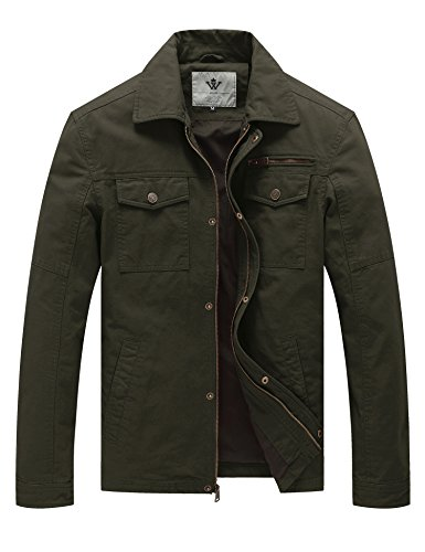 WenVen Men's Casual Tactical Coat (Army Green, M) by WenVen