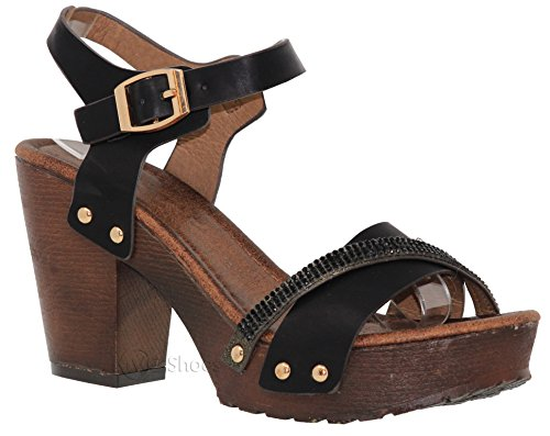 MVE Shoes Women's Ankle Strap Faux Wood Platform Chunky Heel Sandal, Vint-2 Black 8