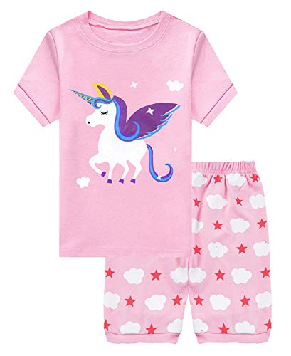 Girls Short Kids & Toddler Pyjamas 100% Cotton Easter Unicorn Pjs for Boys Summer Sleepwears 3 4 T