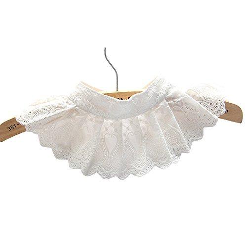 Lace Decorative Pleated Spread False Collar Choker Blouse Collar, White