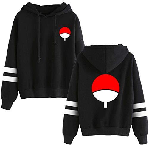 FLYCHEN Women's Fashion Uchiha Sasuke Hoodies Ispired by Anime Naruto Sweatshirt Black Front S (Sasuke Hoodie Jacket)