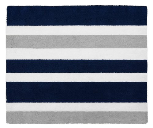 Sweet Jojo Designs Navy Blue, Gray and White Accent Floor Rug for Stripe Kids Teen Bedding Collection (Kids Rug Stripes)