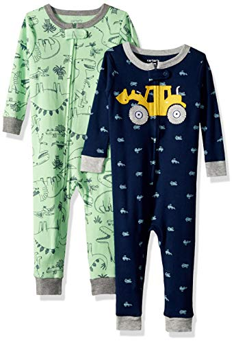 Carter's Baby Boys 2-Pack Cotton Footless Pajamas, Dionsaur/Digger, 12 Months