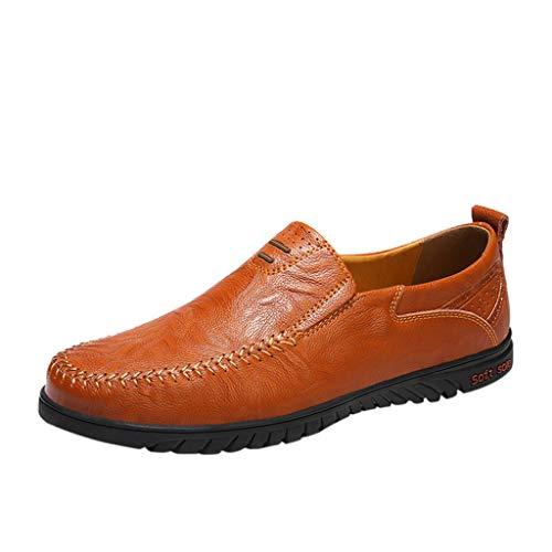 DealinM  Men's Shoes,Men's Large Size Business Leather Shoes Flat Non-Slip Soft Driving Casual Peas Shoes Brown