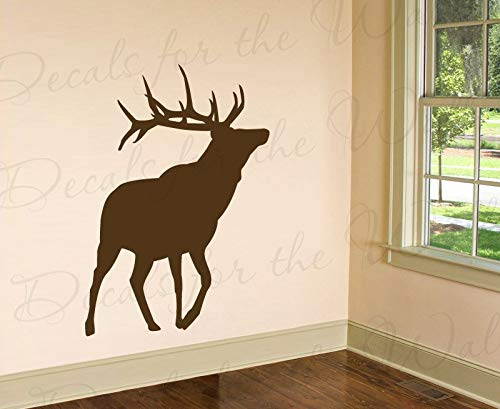 Decals for Elk Silhouette Wall Decal Large Vinyl Buck Deer Realistic Graphic Antler Hunter Hunting Outdoors Cabin Sticker Art Decor Decoration Sign MTX14