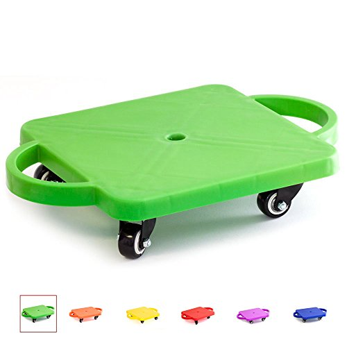 GSE Games & Sports Expert Kids Gym Class Plastic Scooter Board with Handles (Green)