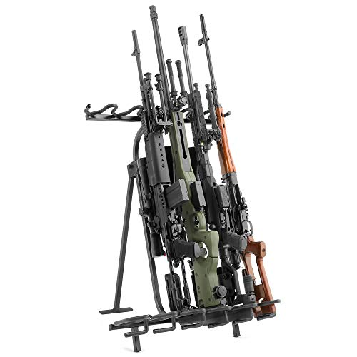 Savior Equipment Tactical Mobile Rifle Shotgun Steel Rack Free-Standing Gun Display Storage - Heavy Duty Steel, Foldable Design, 6-Slot Fit Most Firearms Longer Than 30