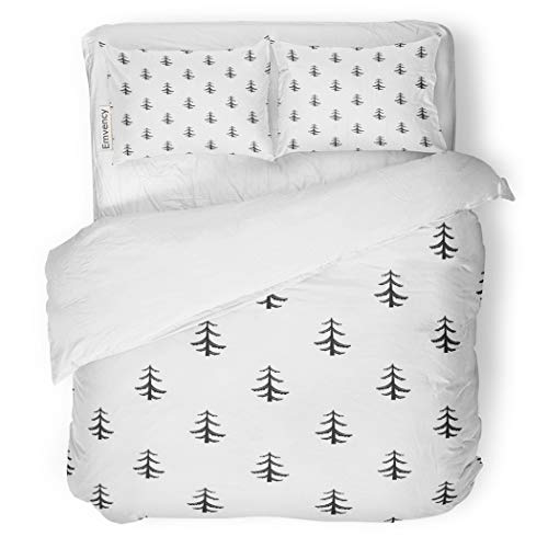 Pine Firewood Tree - SanChic Duvet Cover Set Agriculture Pine Tree Pattern Simple of for Board Decorative Bedding Set with 2 Pillow Shams King Size