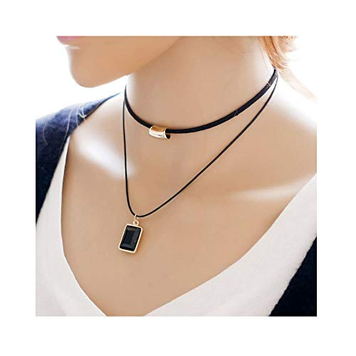 (JczR.Y Vintage Geometric Square Resin Pendant Clavicle Chain Double-Layer Woven Leather Rope Choker Necklace for Women Girls(Square))