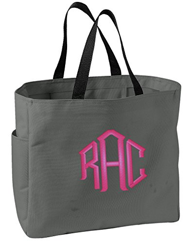 All about me company Canvas Essential Tote Bag | Personalized Monogram/Name Shoulder Bag (Charcoal)