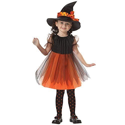 Ankola Halloween Outfit Costumes Cosplay Halloween Clothing Clothes Kids Girls Fancy Girl Short Sleeve Skirt +Witch Hat (5-7T, Yellow)]()