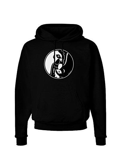 TooLoud Yin Yang Chicken Dark Hoodie Sweatshirt - Black - Large (Yang Adult Sweatshirt Yin)