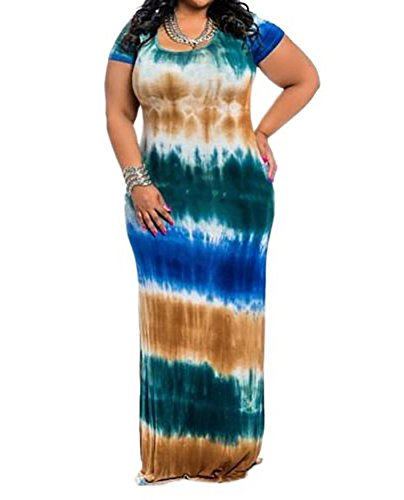 (Moxeay Women's Tie Dye Multi-Color Striped Bodycon Long Maxi Dress Plus Size (US L, Green) )