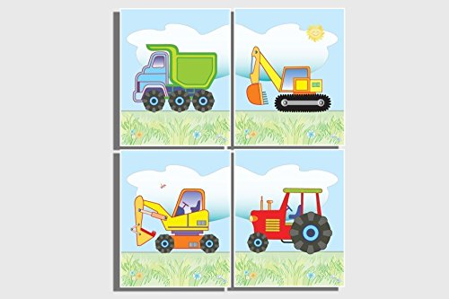 Kids Wall Art Boys Nursery Room Decor Set Of 4 Unframed Prints Pictures Transport Construction Farm Vehicles Red Tractor Dump Truck Digger Bulldozer Excavator Blue Orange Yellow Green 8 X 10 Inches