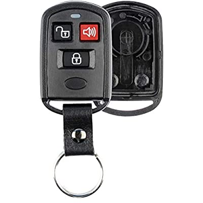 KeylessOption Keyless Entry Remote Key Fob Case Shell Button Pad Cover Leather Strap For Hyundai Kia Santa Fe Elantra: Automotive
