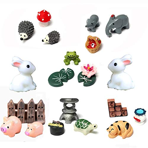 Buytra 7-Set/21 Pieces Miniature Fairy Garden Animals World