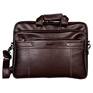 Medlar Leather 15.6 inch Laptop Formal Office Dark Brown Messenger Briefcase Bag with Adjustable Shoulder Cross Body Sling Strap for Men and Women (Unisex)