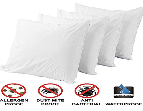 "4 Pack Pillow Protectors 100% Waterproof Standard Anti Allergy Breathable Membrane 20x26"" Bed Bug Dust Mite Life Time ReplacementSmooth Fabric Zip Encasement Hypoallergenic Covers Cases White"