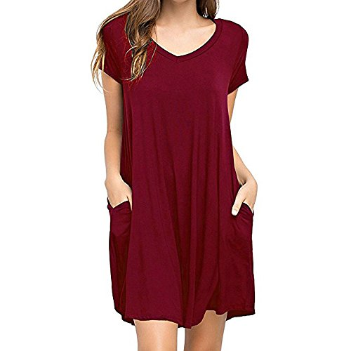 QueenMM Women's Casual Short Sleeve Plain T-Shirt Dress with Pockets Scoop Neck Loose Swing Summer Beach Short Dresses Wine Red