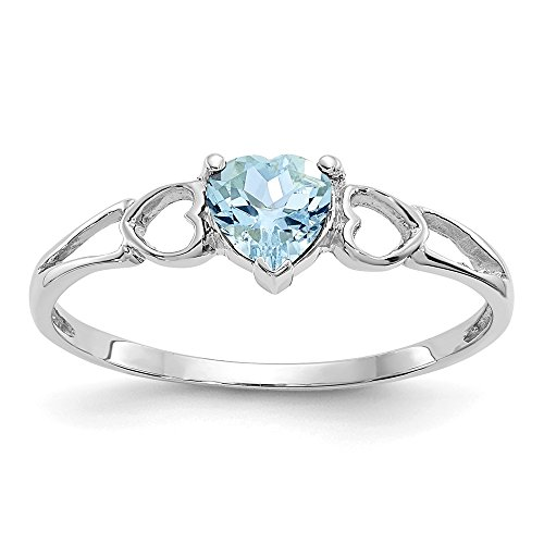 14k White Gold Blue Aquamarine Birthstone Band Ring Size 6.00 March Fine Jewelry Gifts For Women For Her