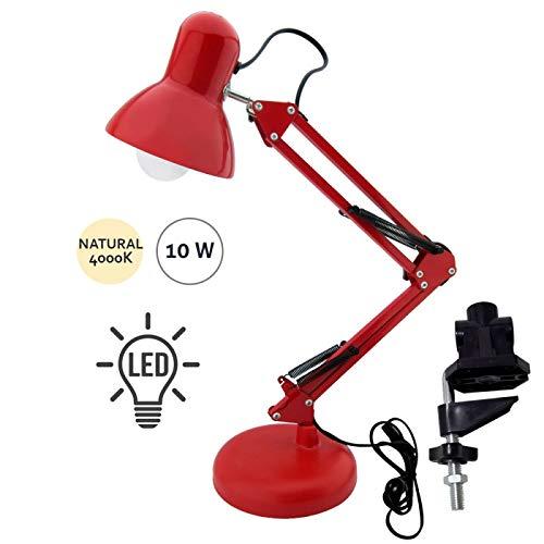 Flexo Serie Antigona Articulable Rojo Con Bombilla LED: Amazon.es: Iluminación