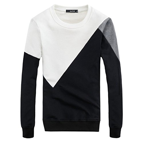 Men's Crew Neck Cotton T-shirt Coat Men Black White Long Sleeve Thick Tee Shirt