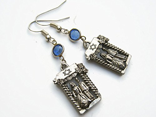 Jewish Wedding Canopy - Chuppah Canopy Birthstone Earrings, Jewish Wedding Earrings, Huppah Jewelry, Personalized Israeli Earrings, Judaism Earrings