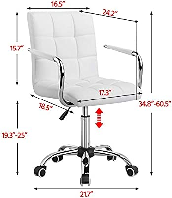 White Desk Chairs w// Wheels//Armrests Leather Office Chair Executive Chair 360°