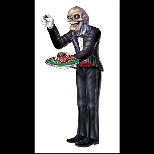 [LifeSize Horror Prop-ZOMBIE SKELETON BUTLER-Door Wall Mural Halloween Decoration] (Life Size Halloween Butler)