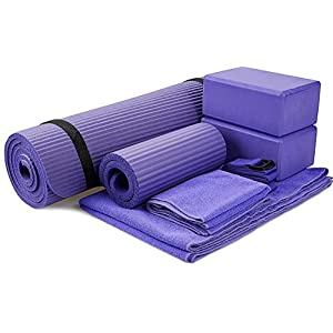 BalanceFrom GoYoga 7-Piece Set – Include Yoga Mat with Carrying Strap, 2 Yoga Blocks, Yoga Mat Towel, Yoga Hand Towel…