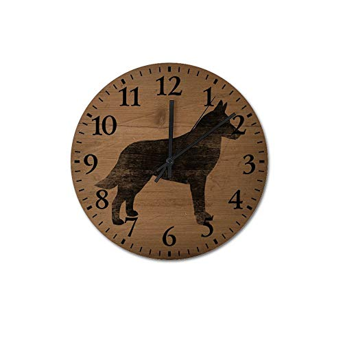 VinMea Belgian Malinois Silhouette(S) Decorative Round Wooden Wall Clock 12 Inch