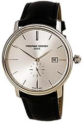 Frederique Constant 345NS5S6 Men's Slimline Silver Dial Black Leather Strap Automatic Watch