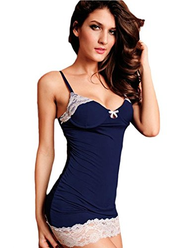 Amoretu Womens Elegant Lingerie Lace-trimmed Slip Adjustable Bodycon Chemise Blue (Lace Negligee)