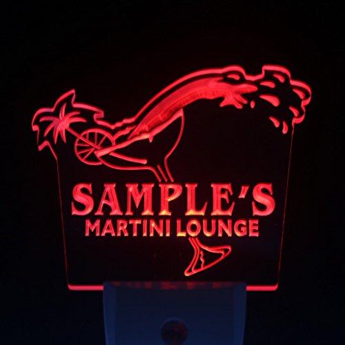wsti-tm Name Personalized Custom Martini Lounge Cocktails Bar Wine Day/ Night Sensor LED Sign