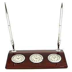 Bey-Berk International Triple Time Zone Desk Clock with Pen Set