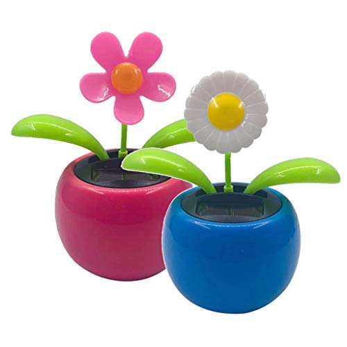 B Blesiya 2pcs Solar Dancing Flower Toy Funny Bobble Head Toys Kid's Educational and Eco-Friendly Toy Giftwer Toy for Car Home Decor