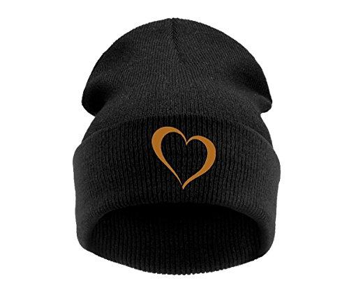 4sold Gold Taille Heart Black Noir Homme Bonnet Nero Universelle ZpBqrZwH